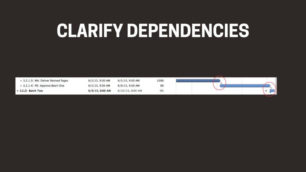 CLARIFY DEPENDENCIES