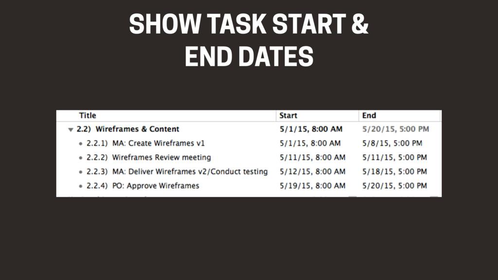 SHOW TASK START &  END DATES