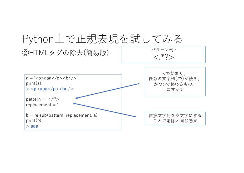 Python上で正規表現を試してみる ②HTMLタグの除去(簡易版) <で始まり、 任意の⽂字...