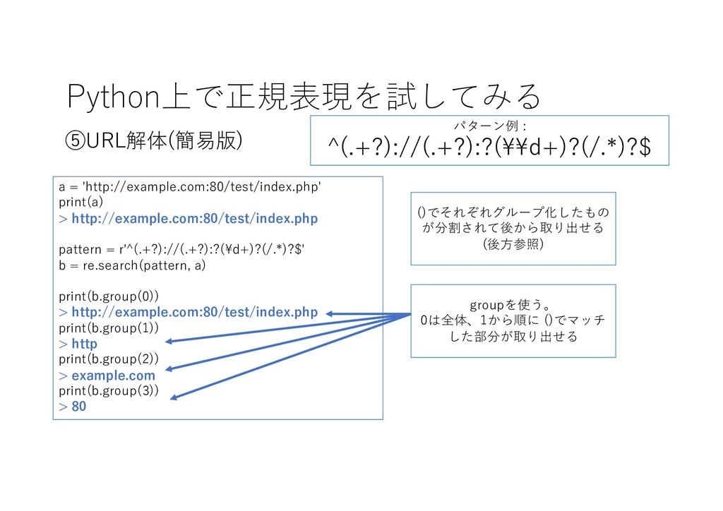Python上で正規表現を試してみる ⑤URL解体(簡易版) ()でそれぞれグループ化したもの...