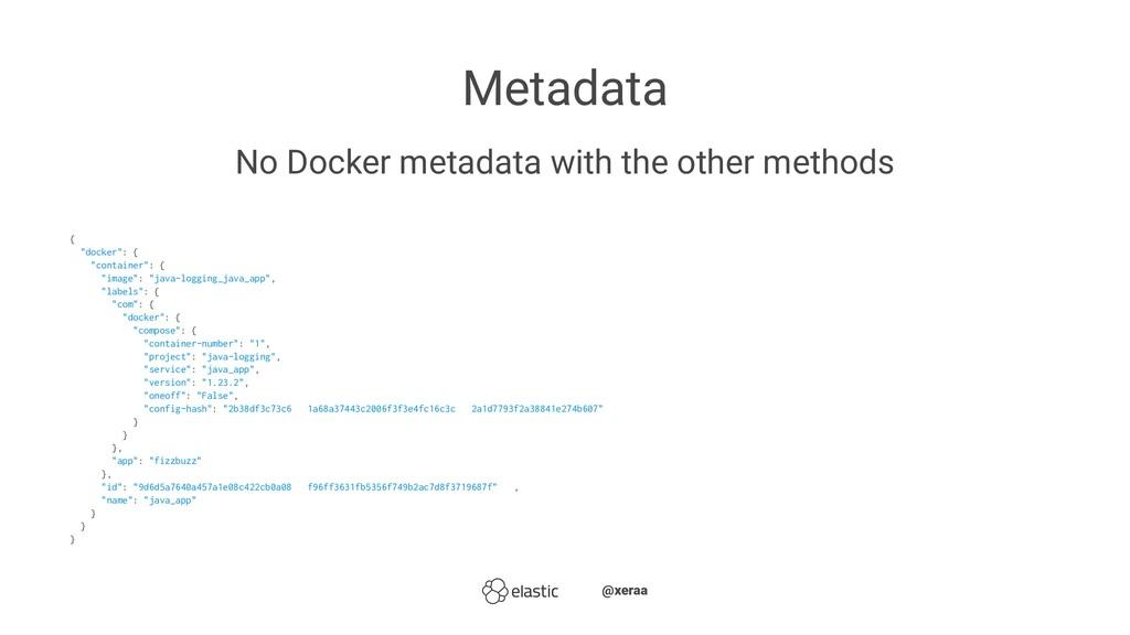 Metadata No Docker metadata with the other meth...
