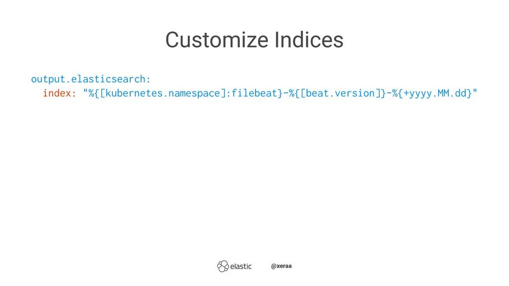 Customize Indices output.elasticsearch: index: ...