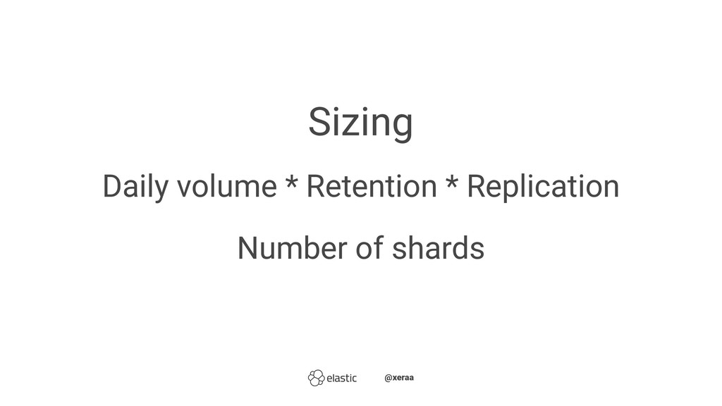 Sizing Daily volume * Retention * Replication N...