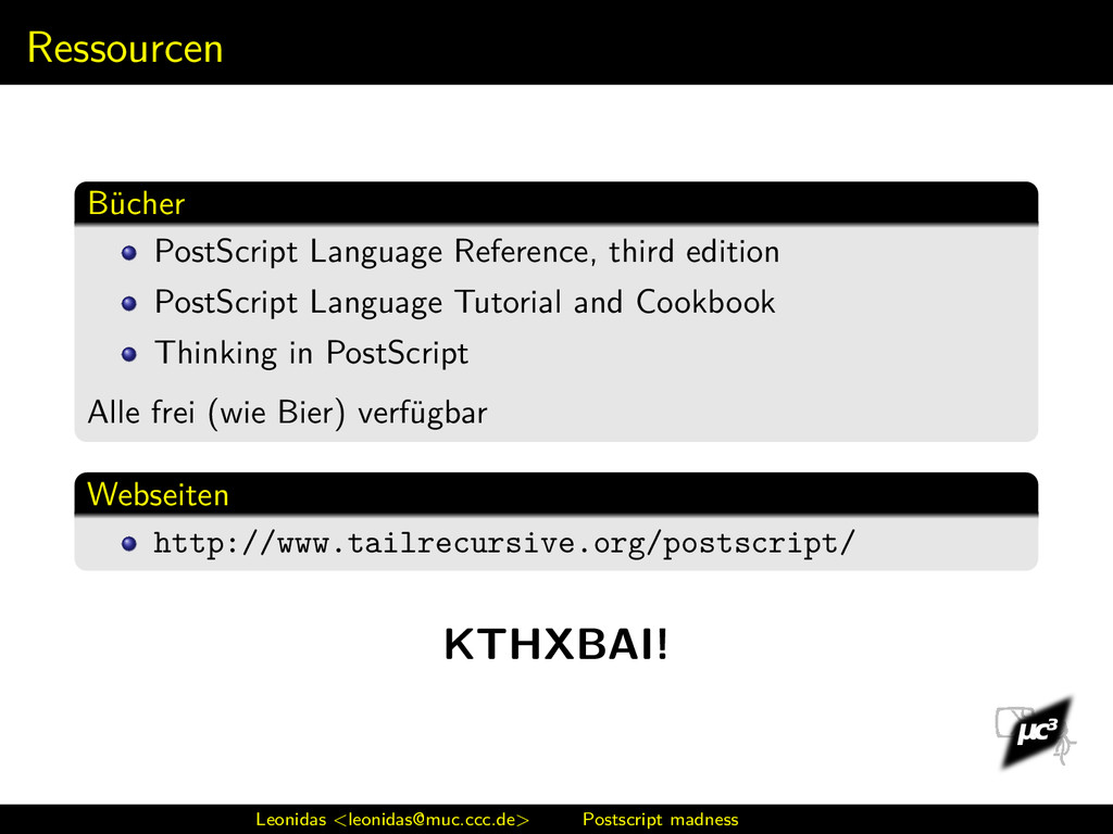 Ressourcen Bücher PostScript Language Reference...