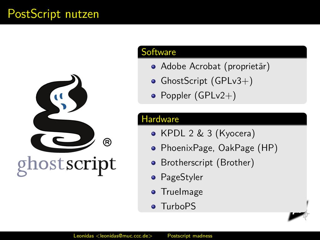 PostScript nutzen Software Adobe Acrobat (propr...