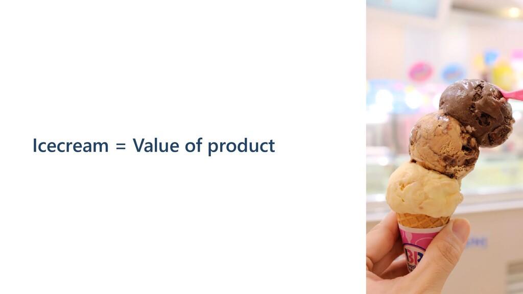Icecream = Value of product