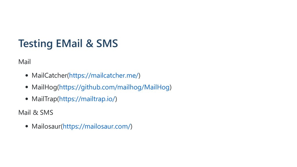Testing EMail & SMS Mail MailCatcher(https://ma...