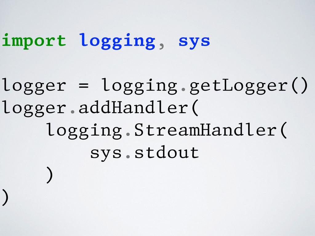 import logging, sys logger = logging.getLogger(...