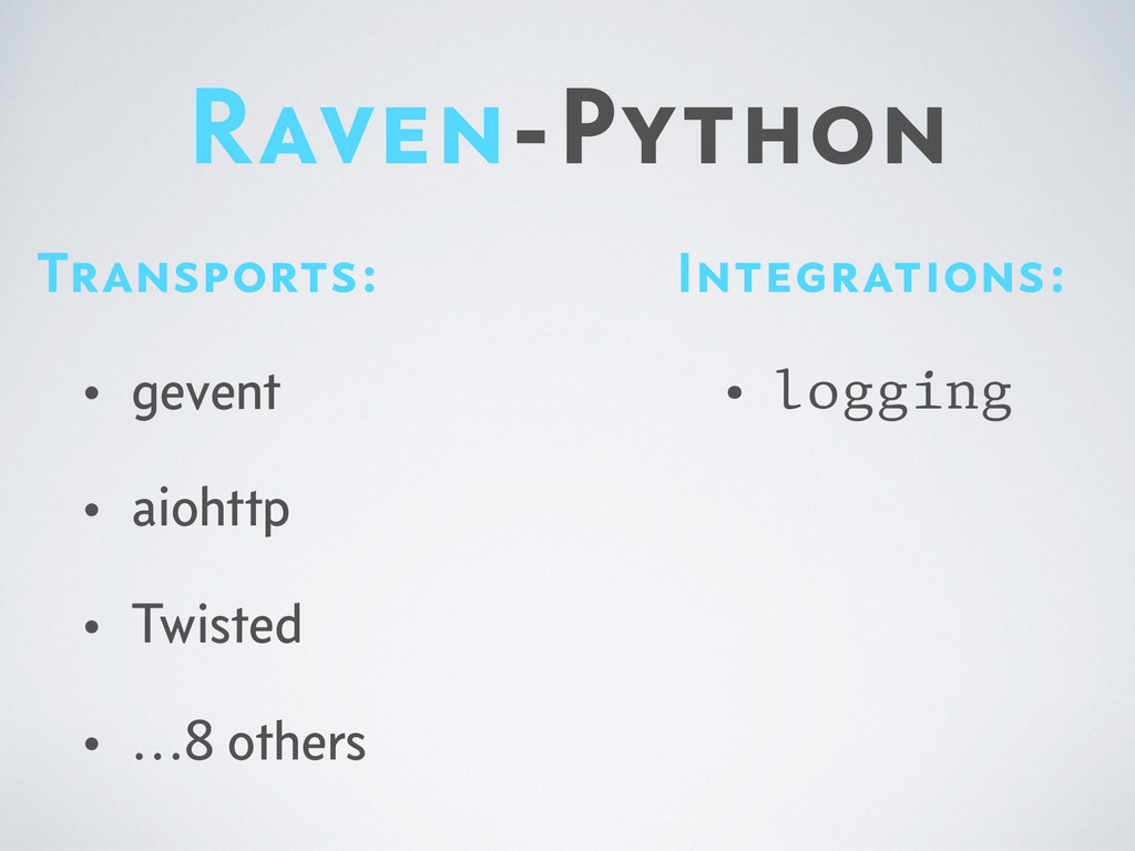 Raven-Python Integrations: • logging Transports...