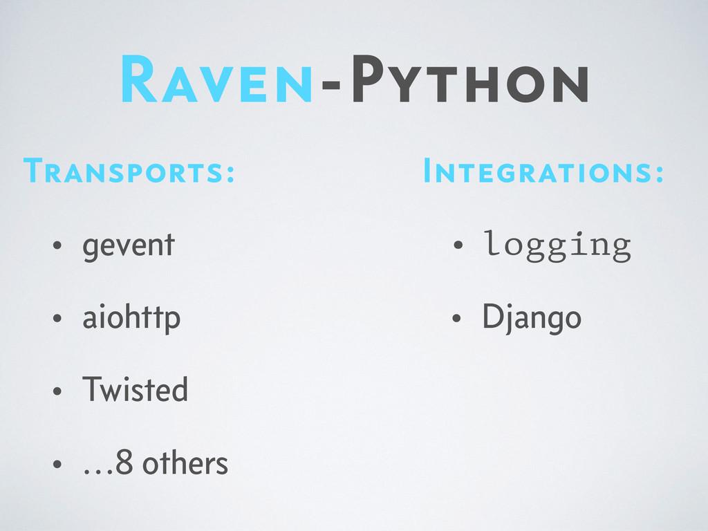 Raven-Python Integrations: • logging • Django T...