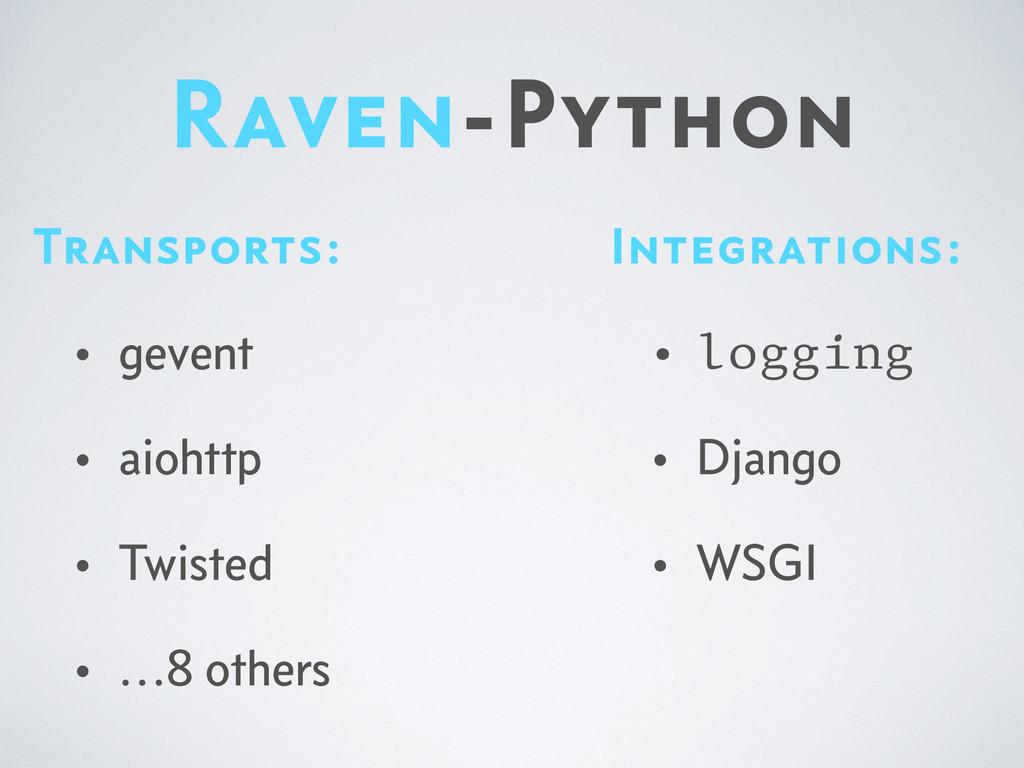 Raven-Python Integrations: • logging • Django •...