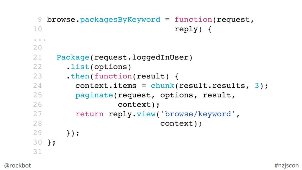 @rockbot #nzjscon 9 browse.packagesByKeyword = ...