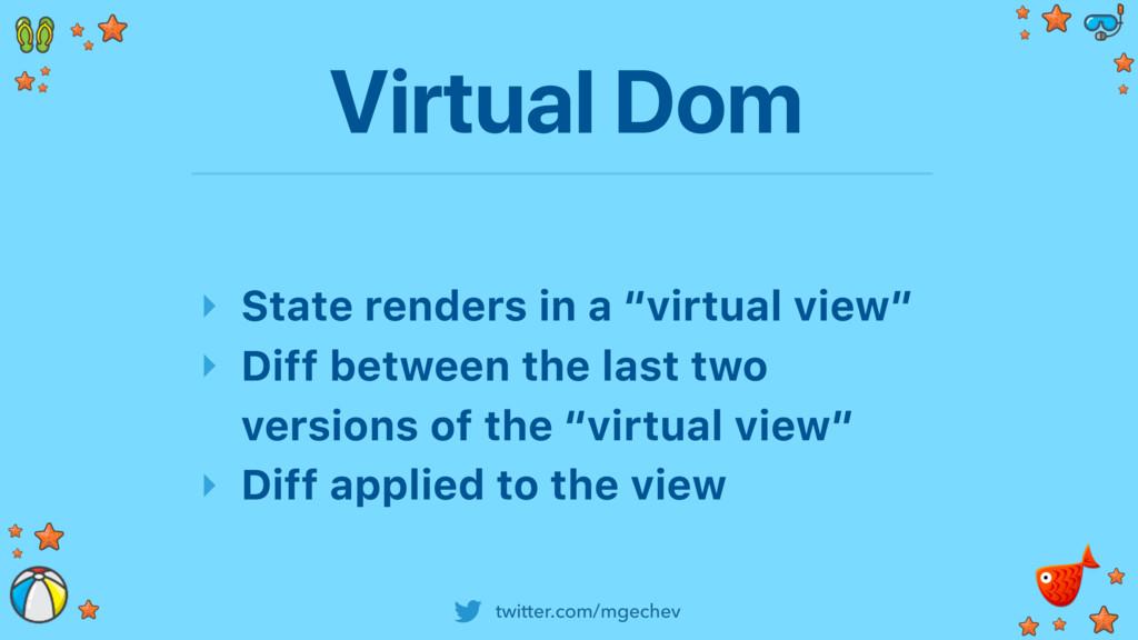 twitter.com/mgechev Virtual Dom ‣ State renders...