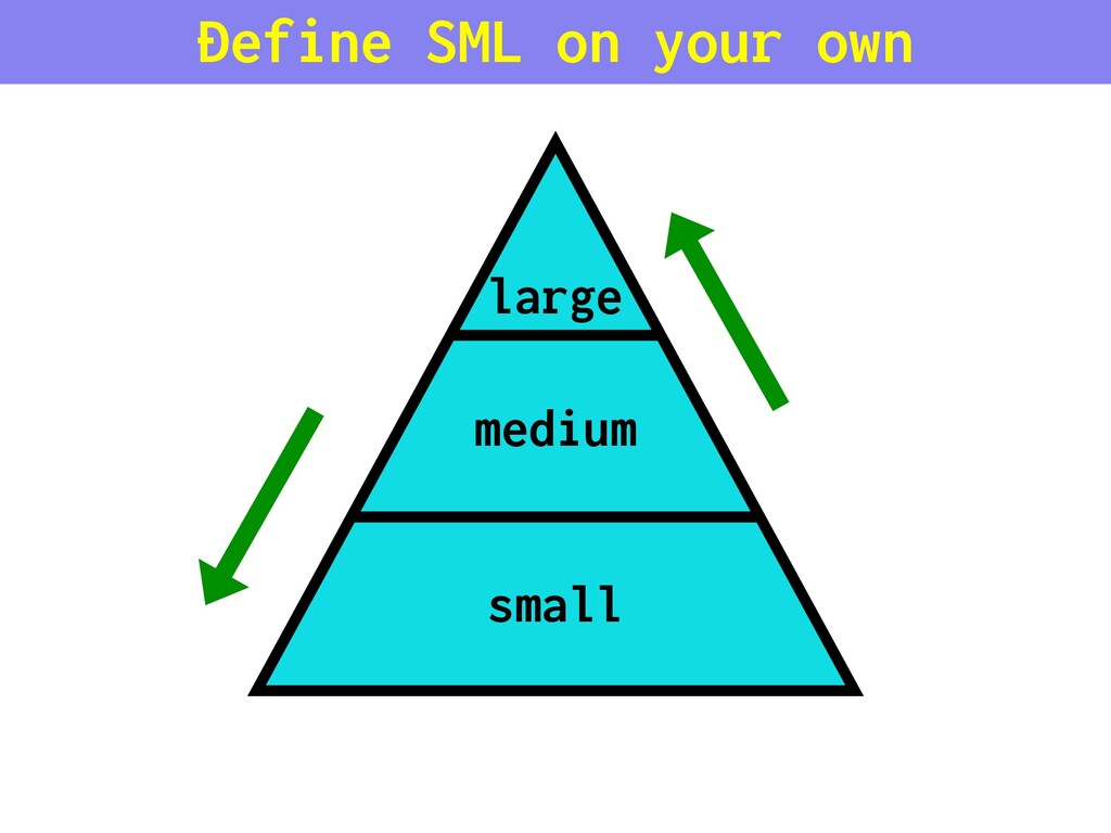 medium small large Define SML on your own