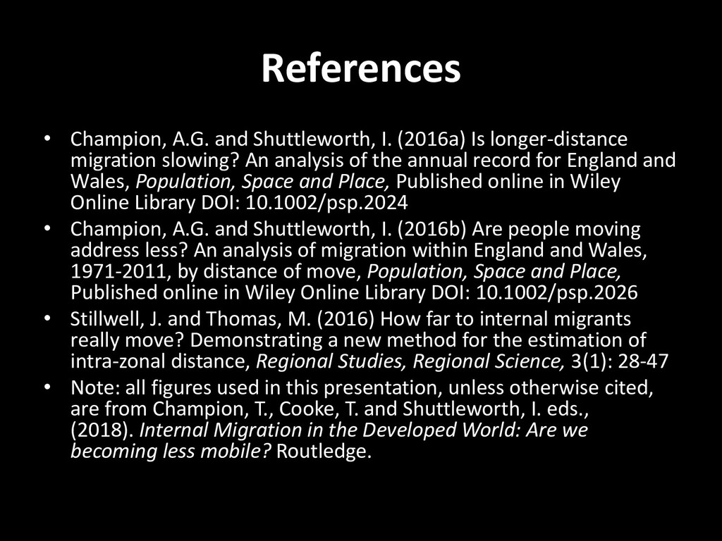References • Champion, A.G. and Shuttleworth, I...