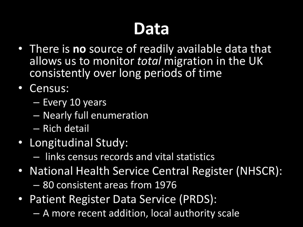 Data • There is no source of readily available ...