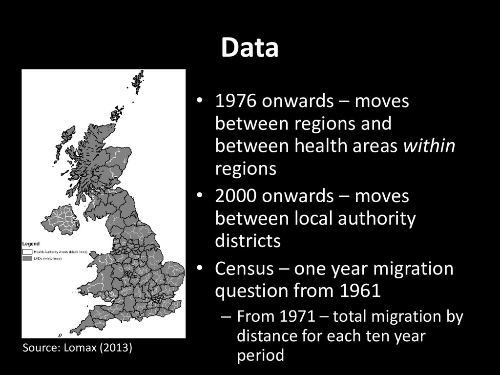 Data • 1976 onwards – moves between regions and...