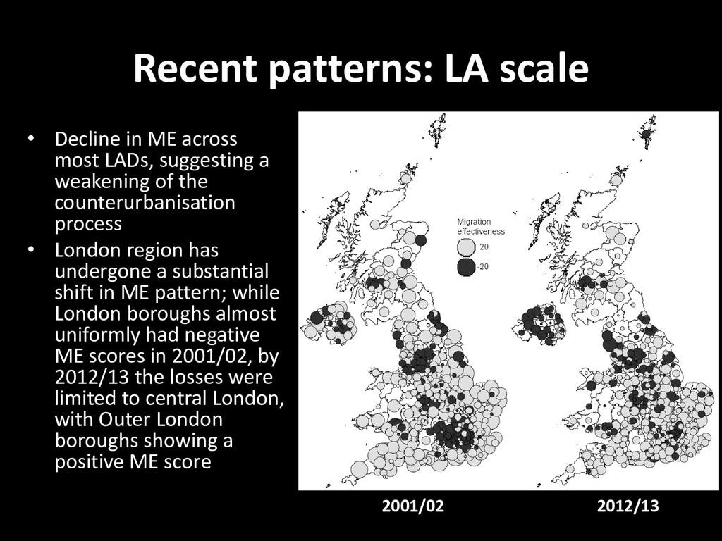 Recent patterns: LA scale • Decline in ME acros...