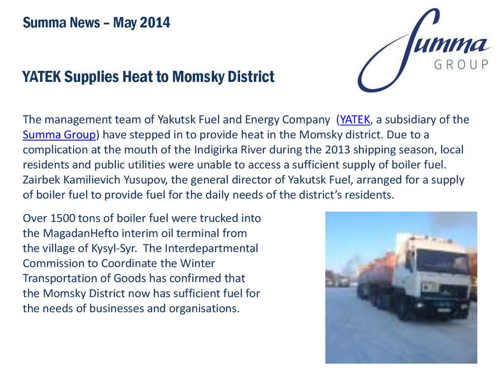 YATEK Supplies Heat to Momsky District The mana...