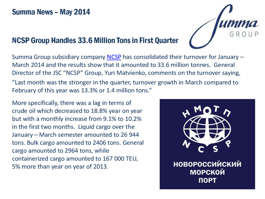 NCSP Group Handles 33.6 Million Tons in First Q...