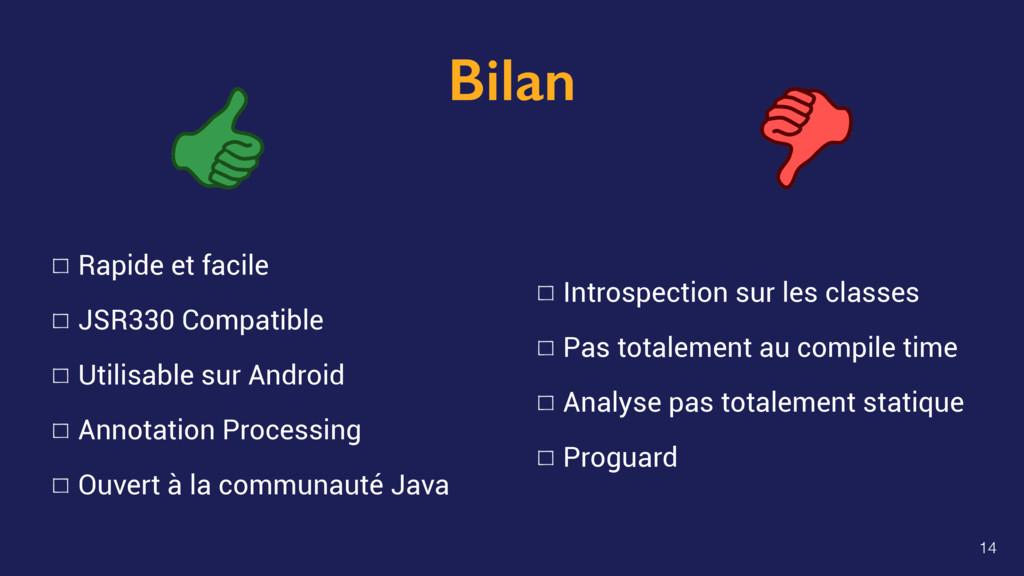 Bilan Rapide et facile JSR330 Compatible Utilis...