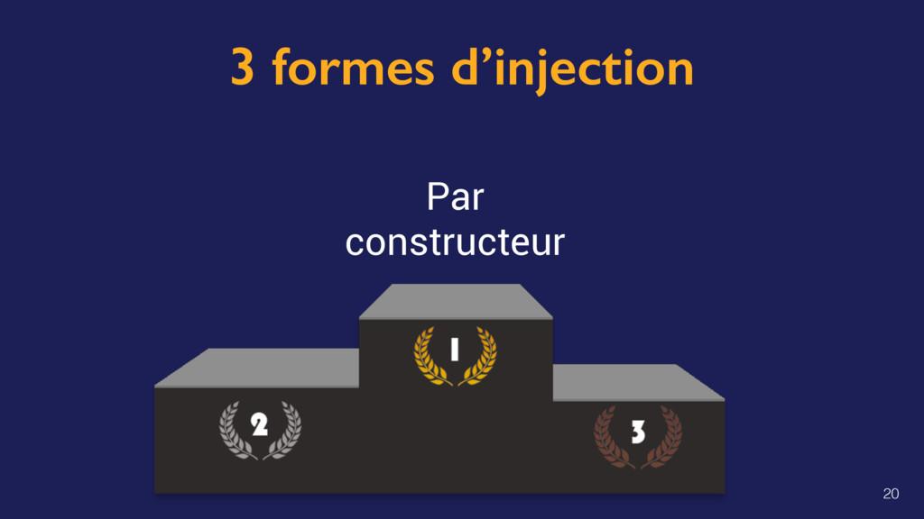 3 formes d'injection Par constructeur 20
