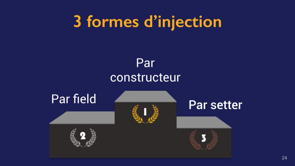 3 formes d'injection Par setter Par constructeu...