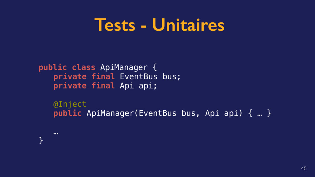Tests - Unitaires public class ApiManager { pri...