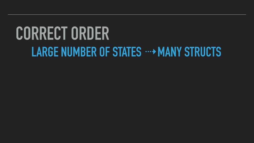 CORRECT ORDER LARGE NUMBER OF STATES ⇢MANY STRU...