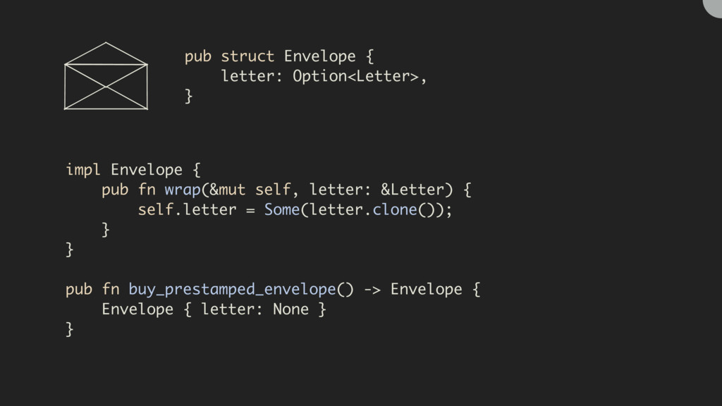 pub struct Envelope { letter: Option<Letter>, }...