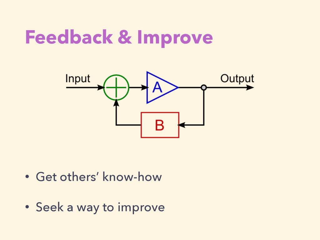 Feedback & Improve • Get others' know-how • See...