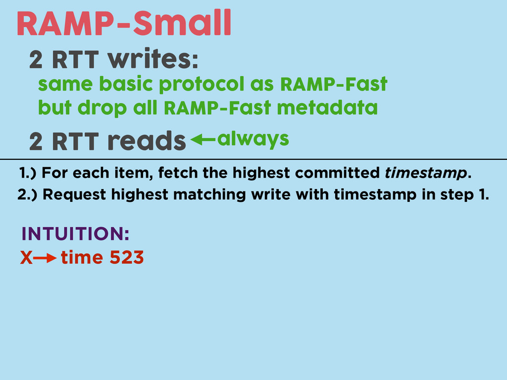RAMP-Small 2 RTT writes: same basic protocol as...