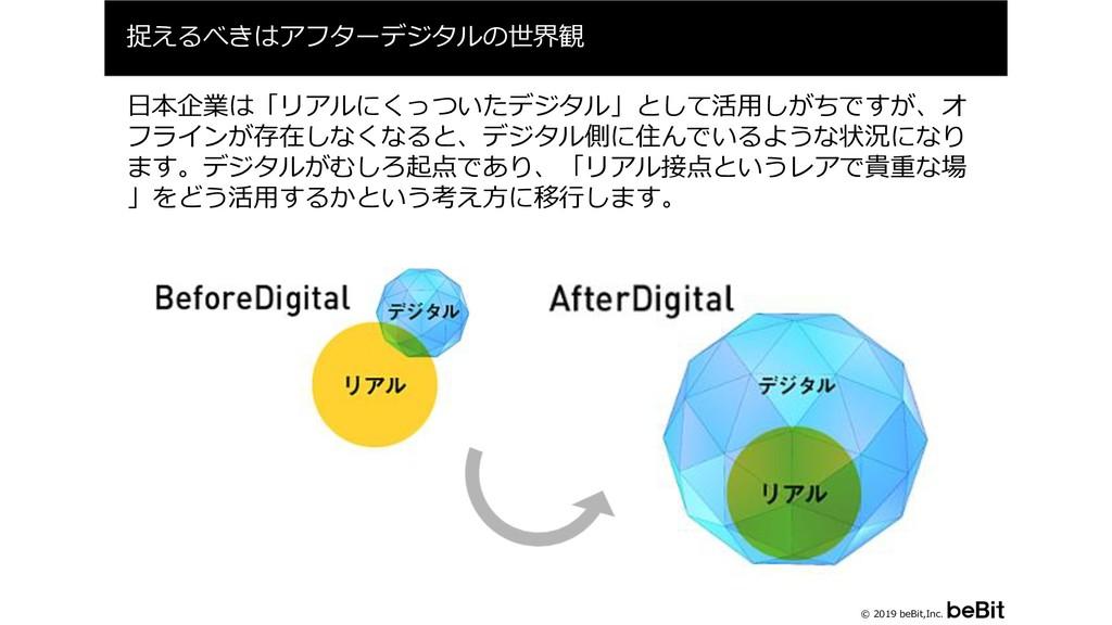 © 2019 beBit,Inc. 捉えるべきはアフターデジタルの世界観 7 日本企業は「リア...
