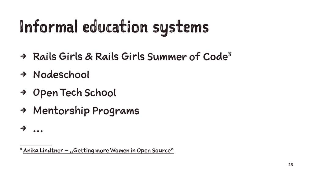 Informal education systems 4 Rails Girls & Rail...