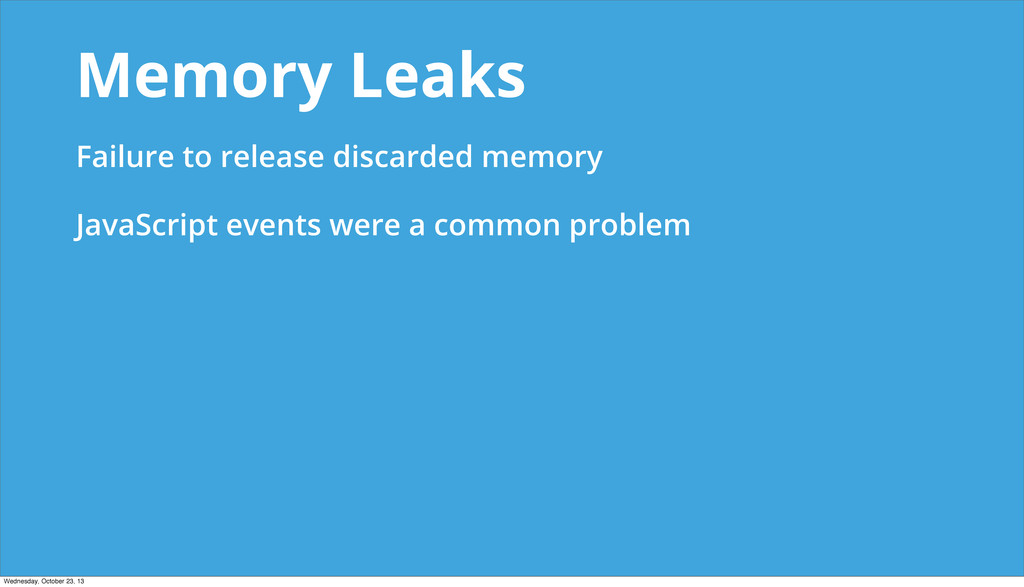Memory Leaks Failure to release discarded memor...