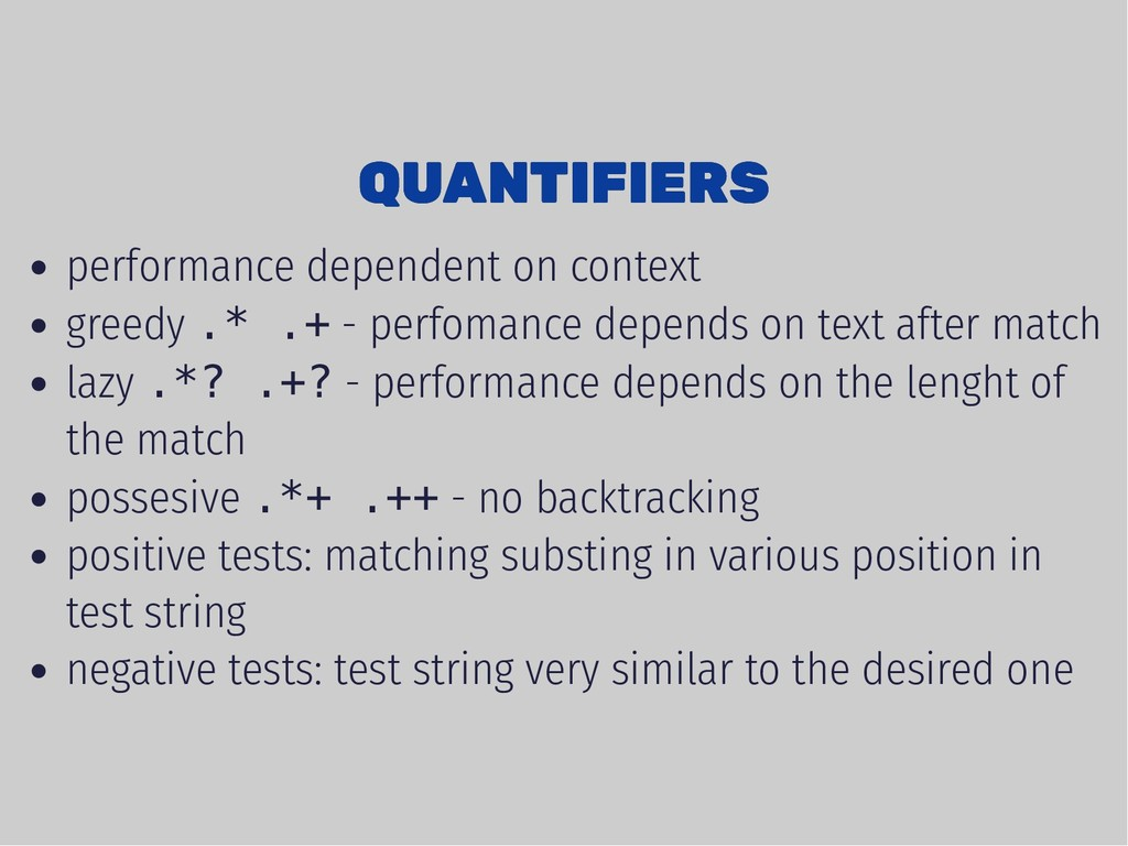 QUANTIFIERS QUANTIFIERS performance dependent o...