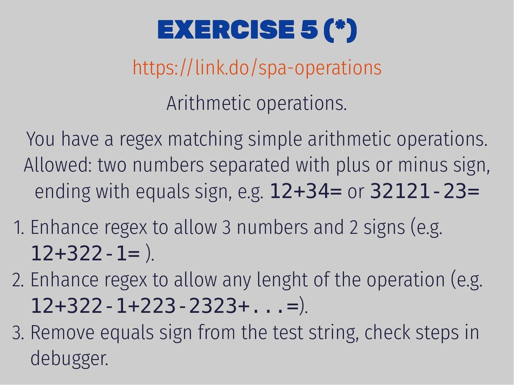 EXERCISE 5 (*) EXERCISE 5 (*) Arithmetic operat...