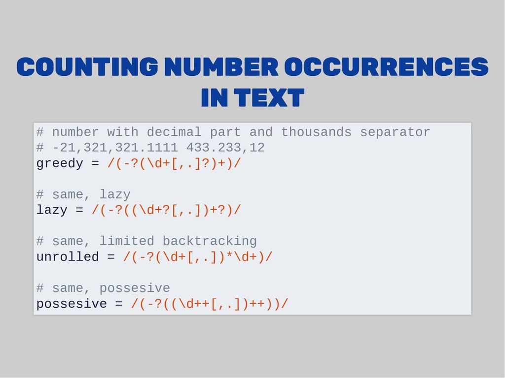 COUNTING NUMBER OCCURRENCES COUNTING NUMBER OCC...