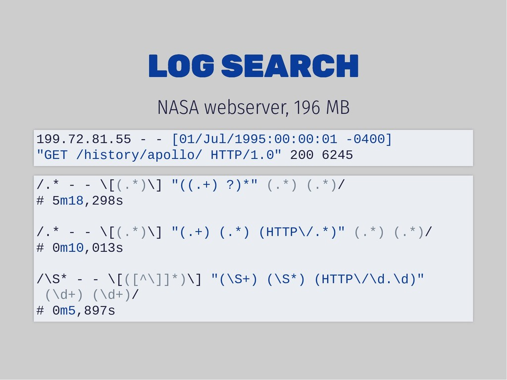 LOG SEARCH LOG SEARCH NASA webserver, 196 MB 19...