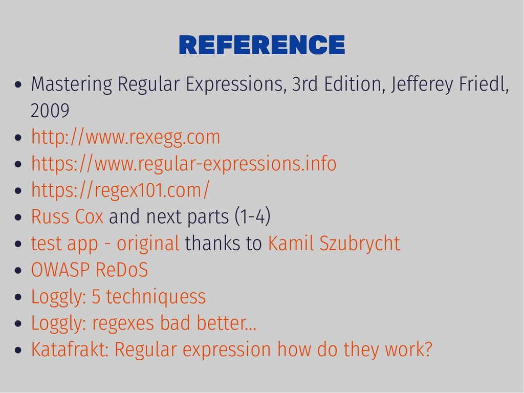 REFERENCE REFERENCE Mastering Regular Expressio...
