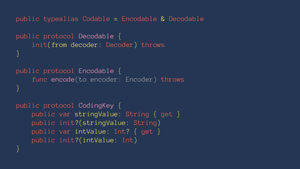 public typealias Codable = Encodable & Decodabl...