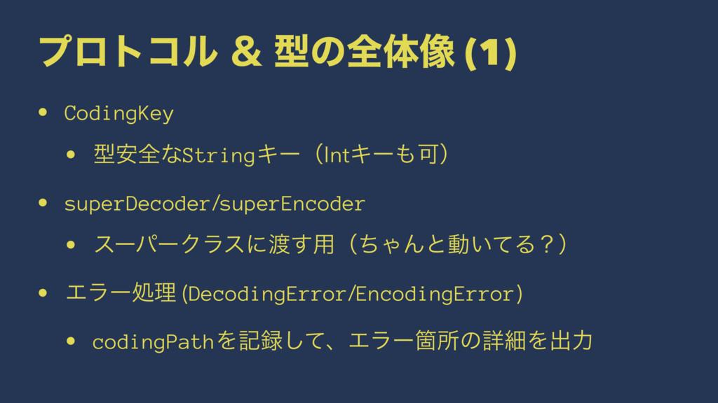 ϓϩτίϧ ˍ ܕͷશମ૾ (1) • CodingKey • ܕ҆શͳStringΩʔʢIn...