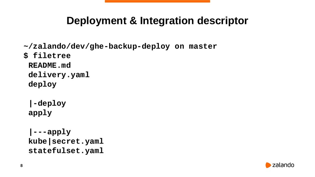 8 Deployment & Integration descriptor ~/zalando...