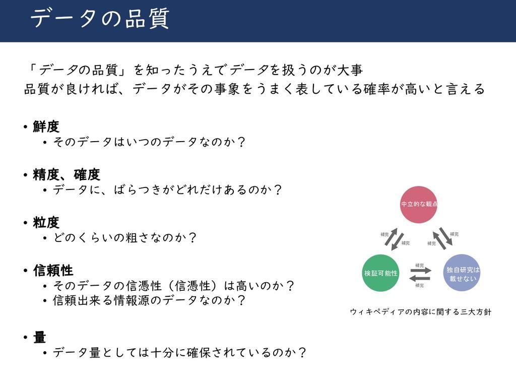 川崎シビックパワーバトル2019 データの品質 「データの品質」を知ったうえでデータを扱うのが...