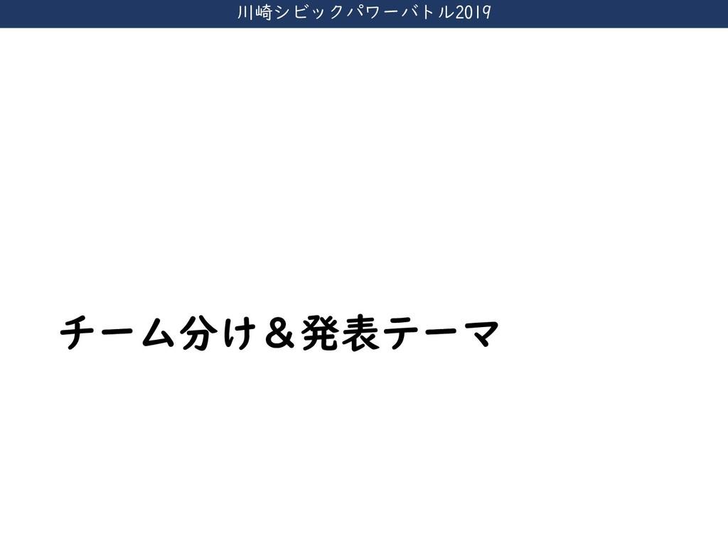 川崎シビックパワーバトル2019 チーム分け&発表テーマ
