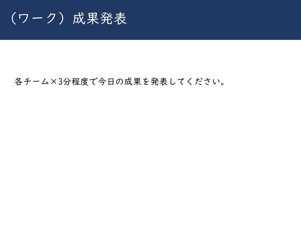 川崎シビックパワーバトル2019 (ワーク)成果発表 各チーム×3分程度で今日の成果を発表して...