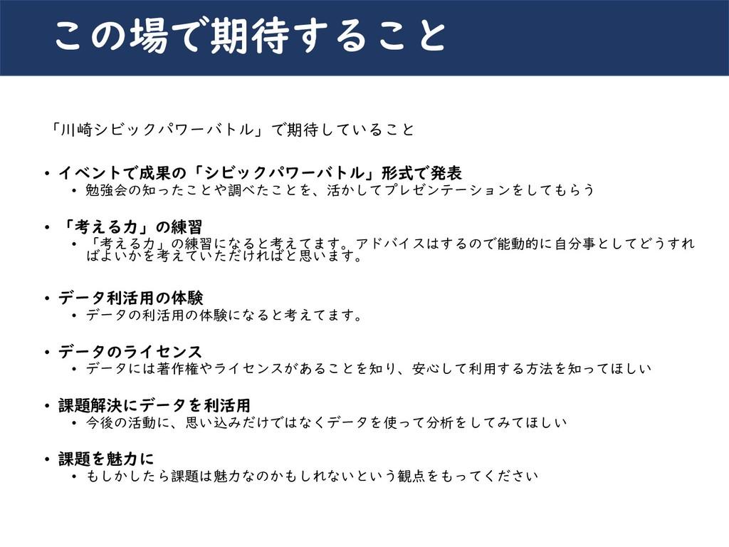 川崎シビックパワーバトル2019 「川崎シビックパワーバトル」で期待していること • イベント...