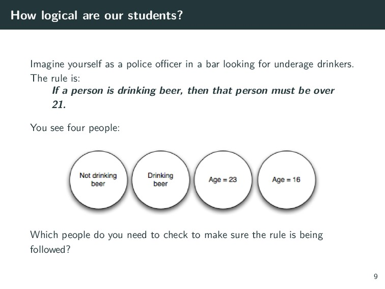 How logical are our students? Imagine yourself ...