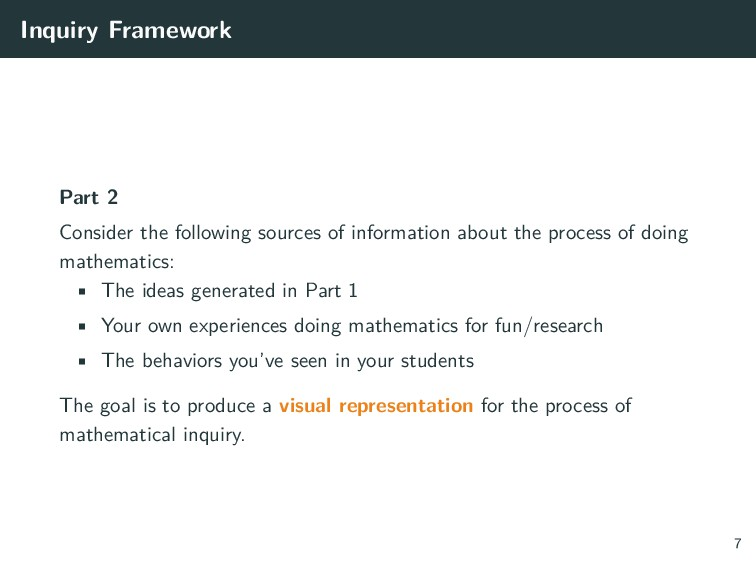 Inquiry Framework Part 2 Consider the following...