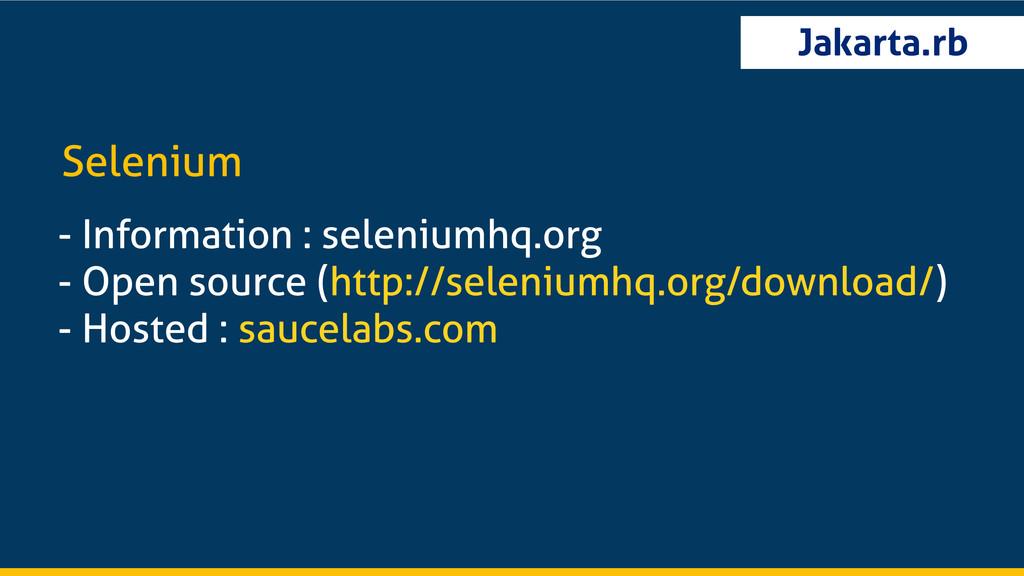 Jakarta.rb - Information : seleniumhq.org - Ope...